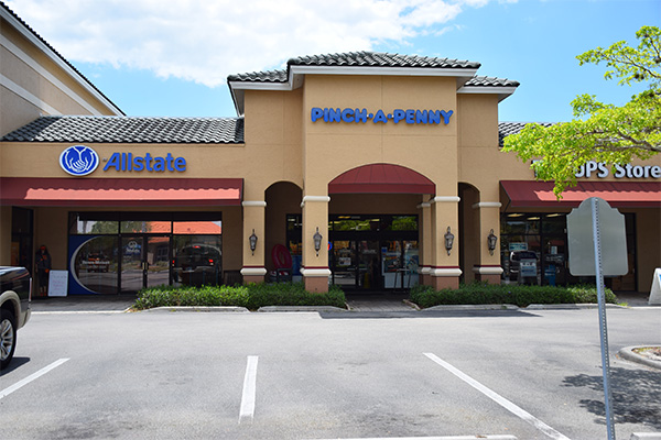 strip mall storefront view