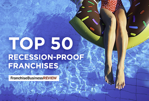 woman floating in pool on float with text 5op 50 recession-proof franchises