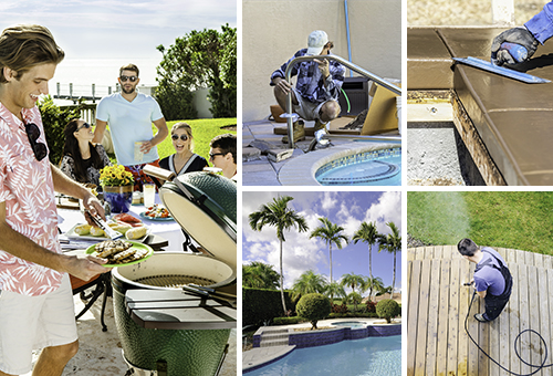 collage of people at the pool and also pool maintenance